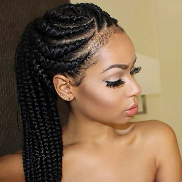 25 Best Ways To Rock Feed In Braids This Season   Page 2 Of 2   Stayglam Throughout Newest Feed In Bun With Ghana Braids (View 3 of 15)