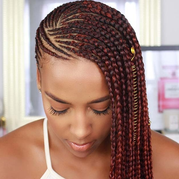 25 Best Ways To Rock Feed In Braids This Season | Stayglam Regarding 2018 Simple Center Part Fulani Braids With A Forehead Bead (View 1 of 15)