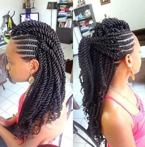 25 Creative Rope & Kinky Twist Braids To Look Good Instantly Inside Most Current Cornrows With A Twist (View 2 of 15)
