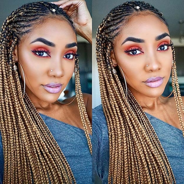 25 Hot Fulani Braids To Copy This Summer | Page 2 Of 2 | Stayglam Inside Newest Two Toned Fulani Braids In A Top Bun (View 4 of 15)