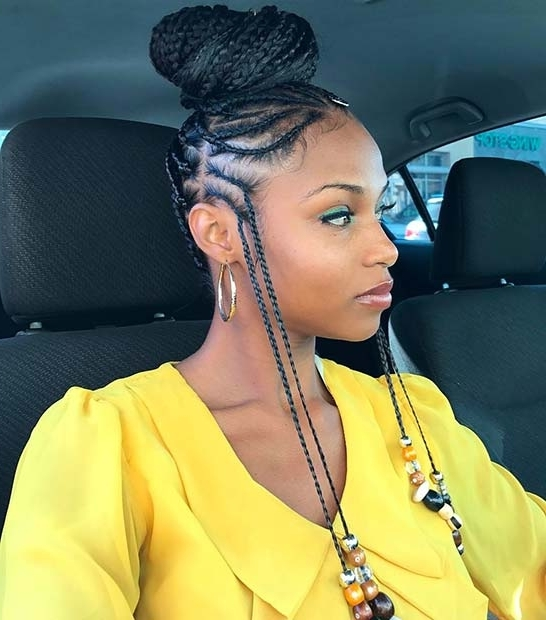 25 Hot Fulani Braids To Copy This Summer | Page 2 Of 2 | Stayglam With Most Up To Date Two Toned Fulani Braids In A Top Bun (View 6 of 15)