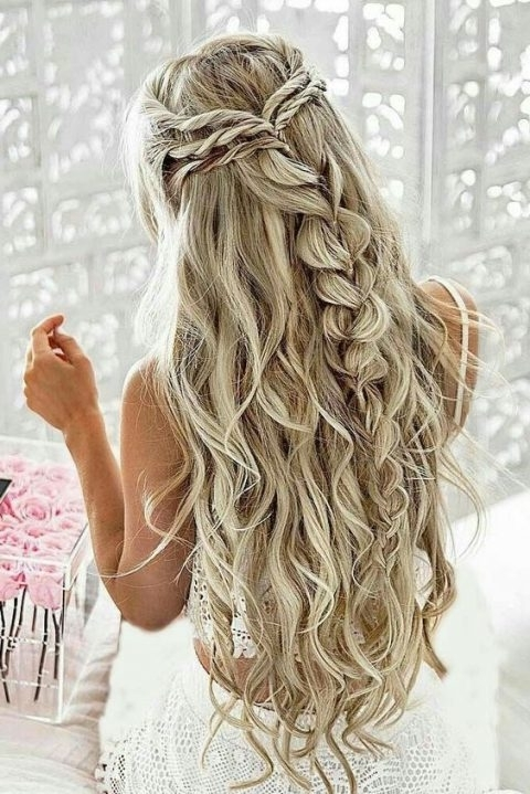 25 Ultimate Braids And Braided Hairstyles For Brides | Happywedd With Regard To Most Popular Half Updo Braids Hairstyles With Accessory (View 9 of 15)