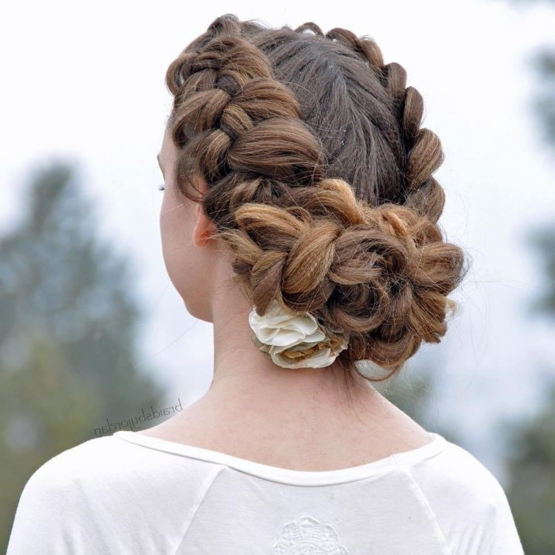 25+ Wedding Updos For Long And Medium Hair | A Practical Wedding Regarding Current Twin Braid Updo Hairstyles (View 7 of 15)