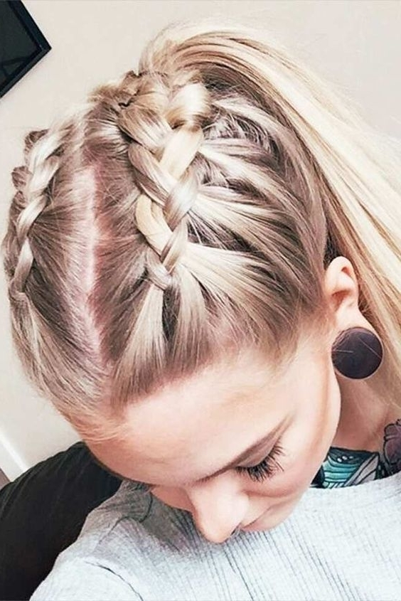 27 Easy Cute Hairstyles For Medium Hair | Hair | Pinterest | Double Pertaining To Latest Braid Into Pony Hairstyles (View 5 of 15)