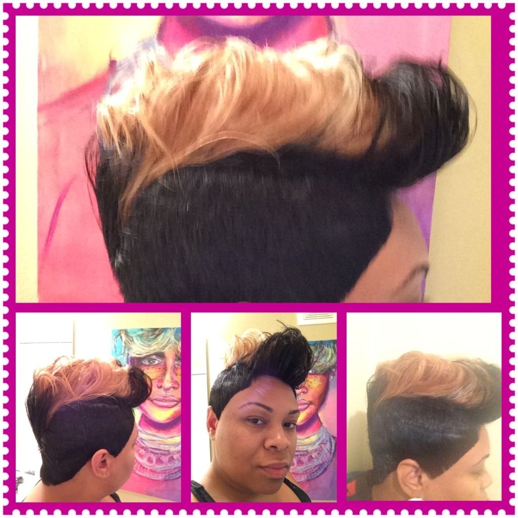 27 Piece Short Cut, Jet Black And Honey Blonde Fohawk   Turning Regarding Most Popular Long Honey Blonde And Black Pixie Haircuts (View 5 of 15)