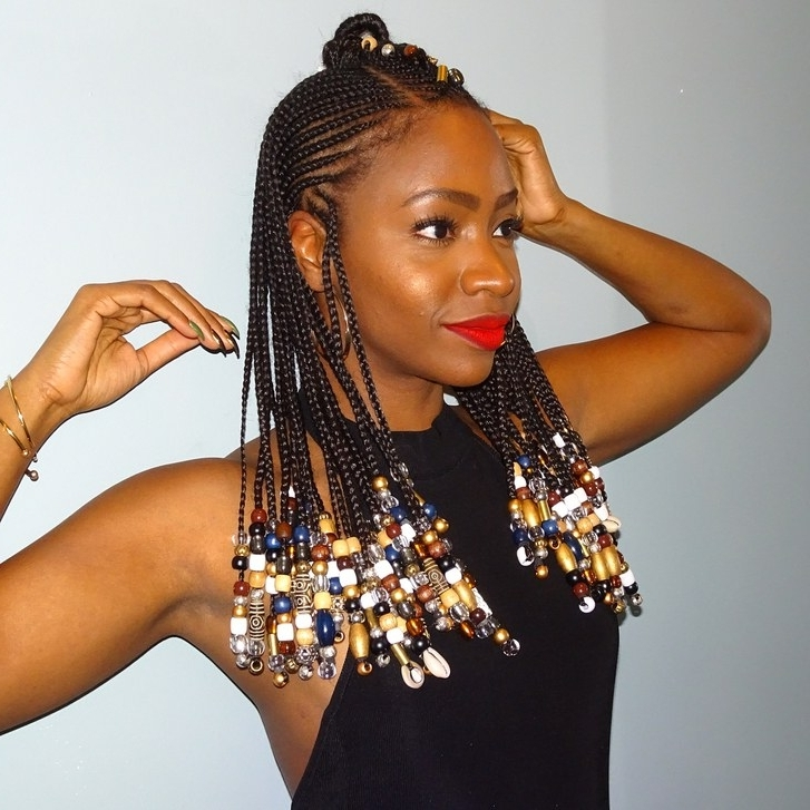 28 Best Black Braided Hairstyles To Try In 2018 | Allure Pertaining To Most Current Shoulder Length Loose Curls With Beaded Mini Fulani Braids (View 2 of 15)