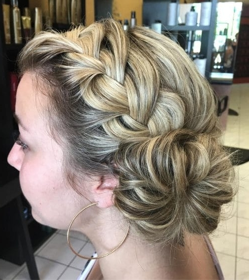 28 Gorgeous Braided Updo Ideas For 2018 Regarding Most Current Pinned Up French Plaits Hairstyles (View 5 of 15)
