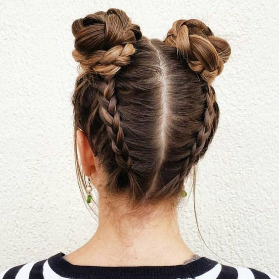 28 Ridiculously Cool Double Bun Hairstyles You Need To Try – Gurl Pertaining To Most Recently Upside Down Braids With Double Buns (View 2 of 15)