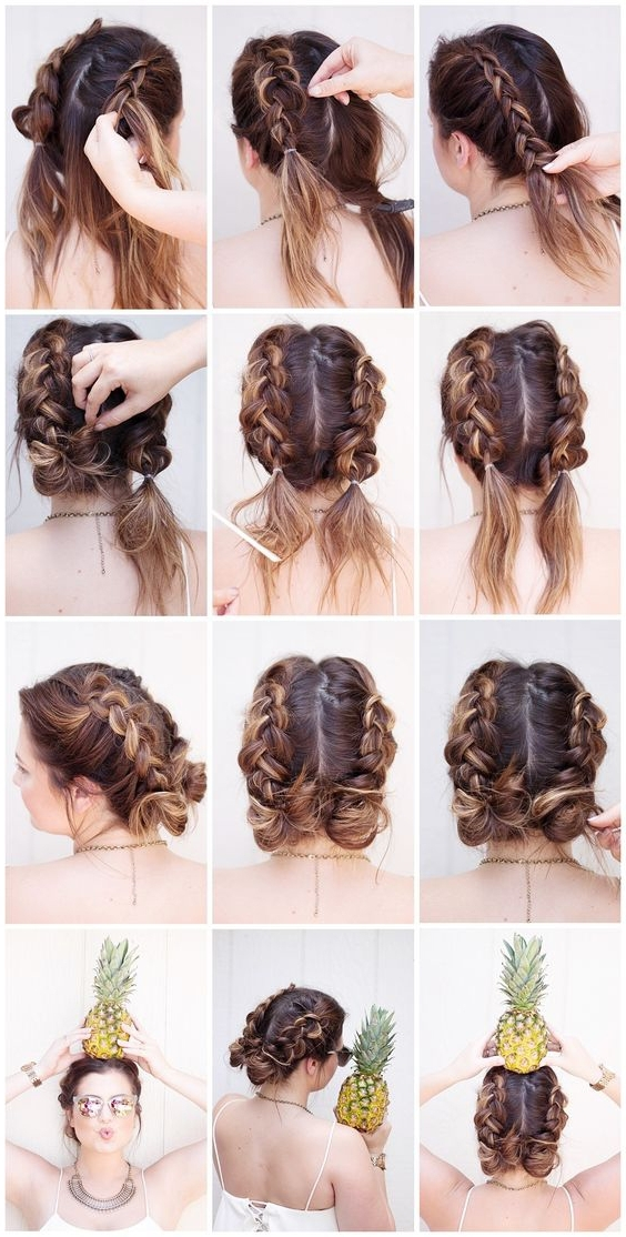 28 Ridiculously Cool Double Bun Hairstyles You Need To Try – Gurl Regarding Most Current Twin Braid Updo Hairstyles (View 3 of 15)