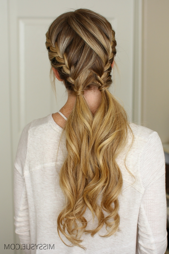 3 Easy Gym Hairstyles   Missy Sue Inside Most Up To Date Double French Braids And Ponytails (View 2 of 15)