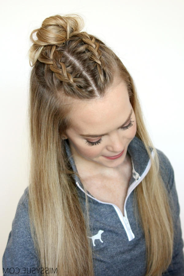 3 Sporty Hairstyles | Women's World | Pinterest | Double French With Recent Braided Hairstyles On Top Of Head (View 3 of 15)