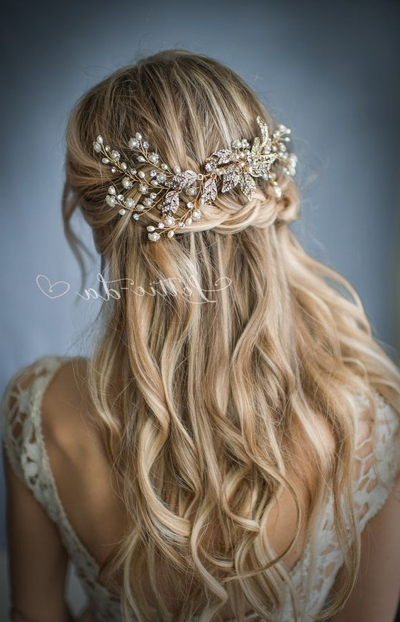 30 Chic Vintage Wedding Hairstyles And Bridal Hair Accessories Pertaining To Latest Half Updo Braids Hairstyles With Accessory (View 4 of 15)