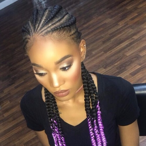 30 Cool Ghana Braids To Inspire You – My New Hairstyles Intended For Most Current Purple Highlights In Black Braids (View 12 of 15)