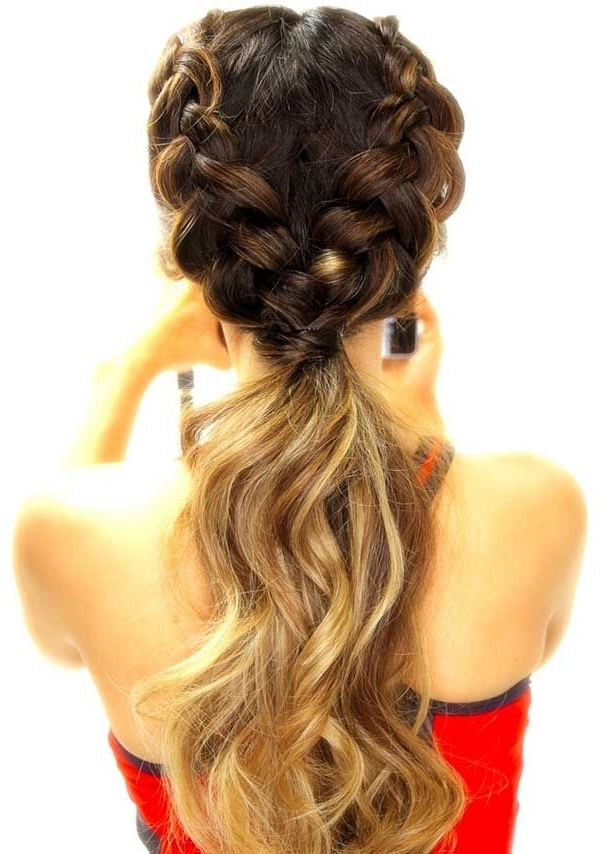 30 Cute Ponytail Hairstyles You Need To Try | Stayglam Hairstyles For 2018 Two Braids Into One Braided Ponytail (View 3 of 15)