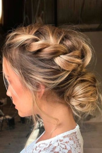 Featured Photo of Messy Loosely Braided Side Downdo