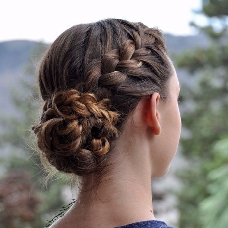 30 Ways To Braid Your Hair In Most Current Braided Bun With Two French Braids (View 9 of 15)