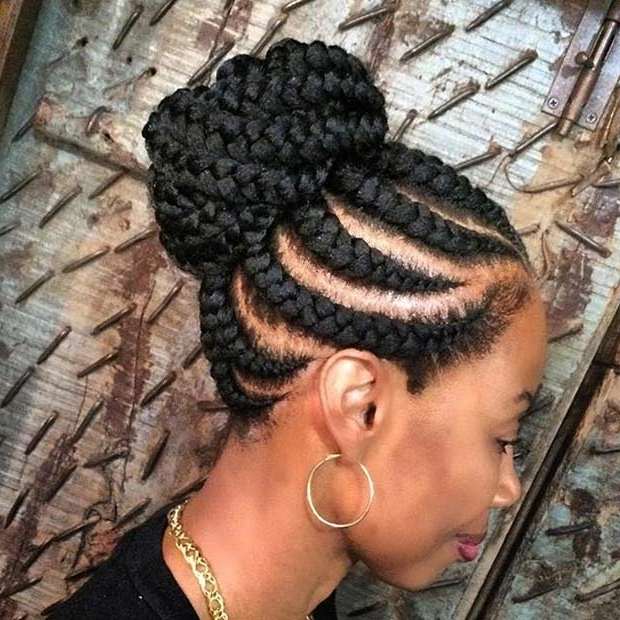 31 Best Ghana Braids Hairstyles | Page 2 Of 3 | Stayglam Throughout Recent Ghana Braids Bun Hairstyles (View 3 of 15)