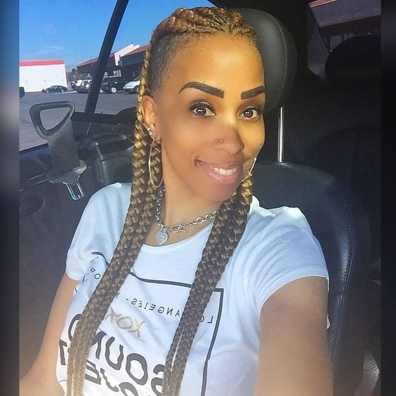 31 Ghana Braids Styles For Trendy Protective Looks – Part 8 Within Most Recent One Side Shaved Braided Hairstyles (View 10 of 15)