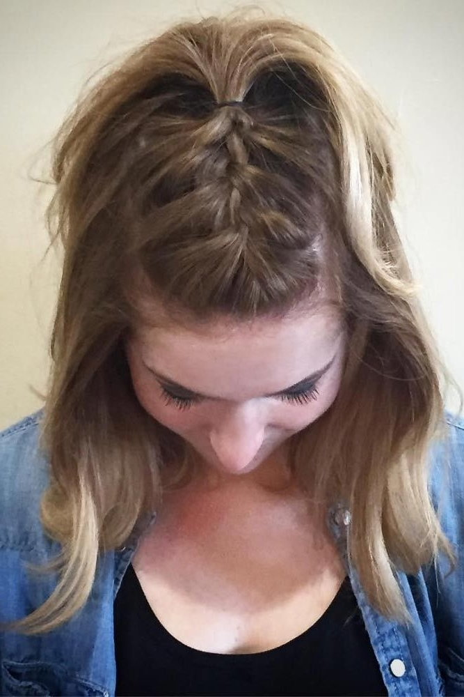 33 Casual And Easy Updos For Short Hair | Hair Styles | Pinterest With Regard To Most Current Braided Updo Hairstyles For Short Hair (View 12 of 15)