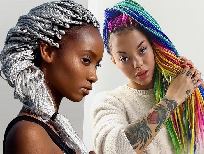 35 Awesome Box Braids Hairstyles You Simply Must Try | Fashionisers Pertaining To Most Popular Top Knot Bun With Cascade Of Thin Braids (View 5 of 15)