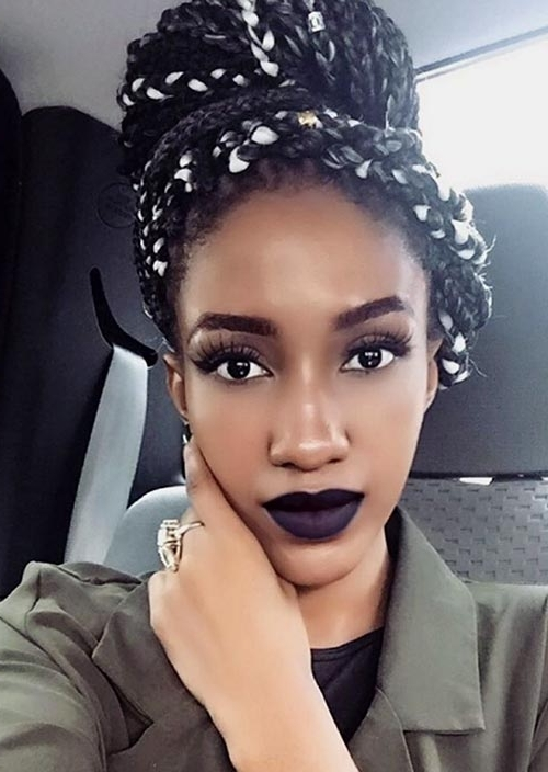 35 Awesome Box Braids Hairstyles You Simply Must Try | Fashionisers Regarding Most Up To Date Top Knot Bun With Cascade Of Thin Braids (View 7 of 15)