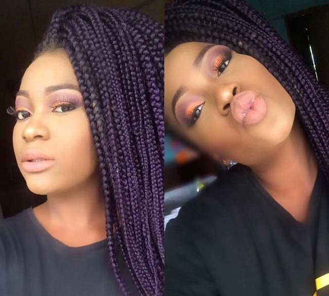 35 Awesome Box Braids Hairstyles You Simply Must Try | Fashionisers Within Most Current Purple Highlights In Black Braids (View 2 of 15)