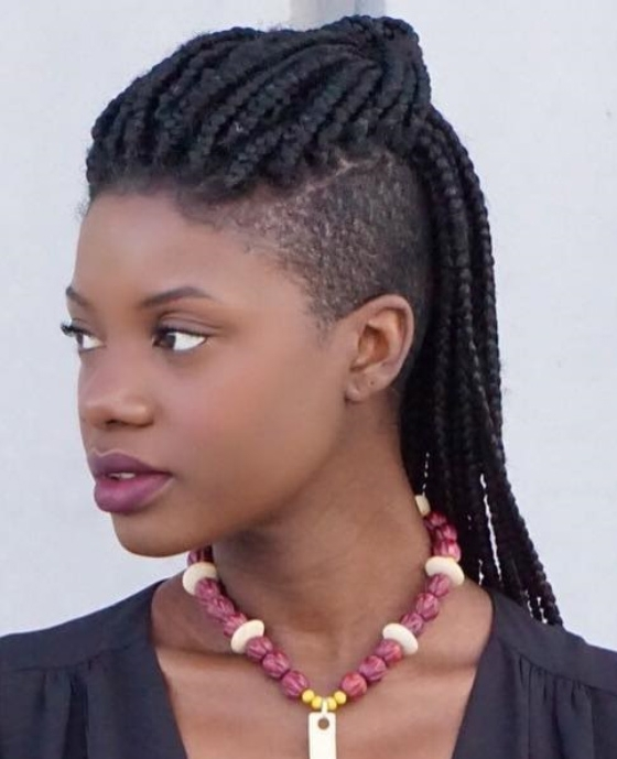 35 Bombass Ways To Style Your Bodacious Box Braids For Most Up To Date Top Knot Ponytail Braids With Pink Extensions (View 7 of 15)