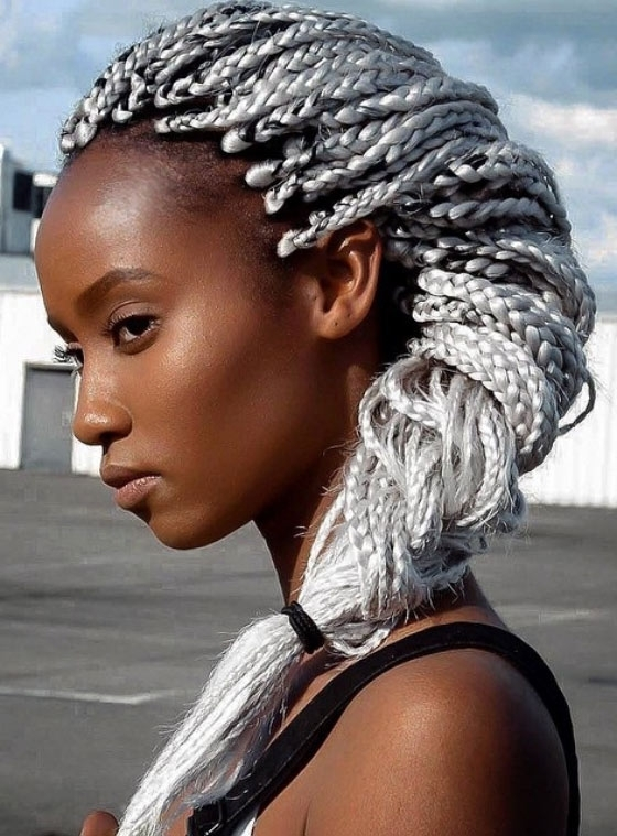 35 Bombass Ways To Style Your Bodacious Box Braids Within Most Popular Cornrows Hairstyles With White Color (View 5 of 15)