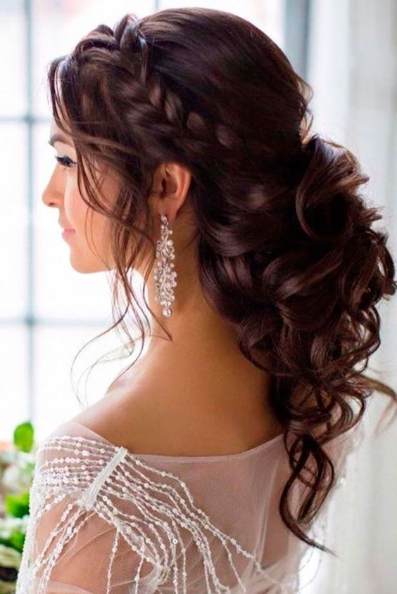39 Amazing Wedding Updos Loose Curl Ponytail & Crown Braid Intended For Latest Braided Crown With Loose Curls (View 9 of 15)