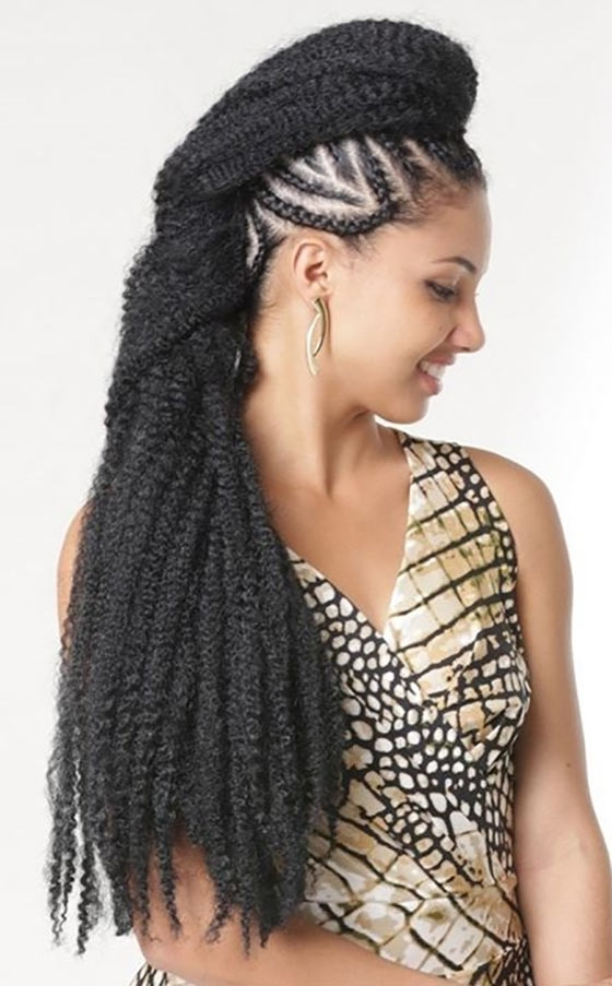 40 Awe Inspiring Ways To Style Your Crochet Braids In Newest Straight Up Cornrows Hairstyles (View 12 of 15)
