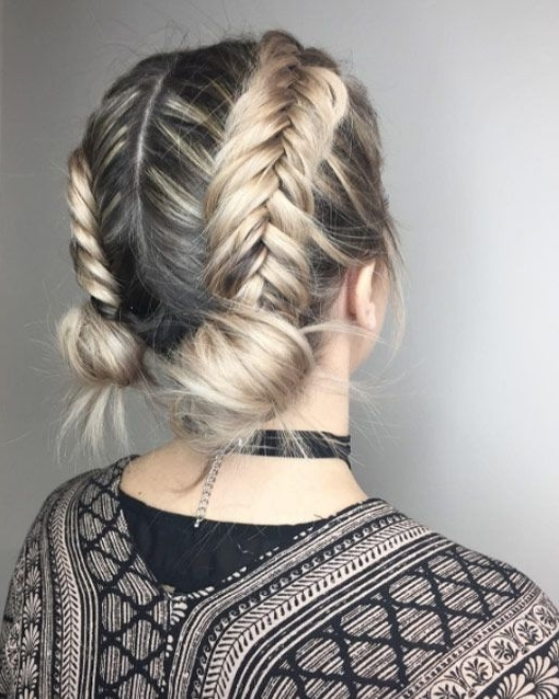 40 Cute And Clever Updos For Short Hair This Summer | Haircut And In Most Recently Chunky Two French Braid Hairstyles With Bun (View 4 of 15)
