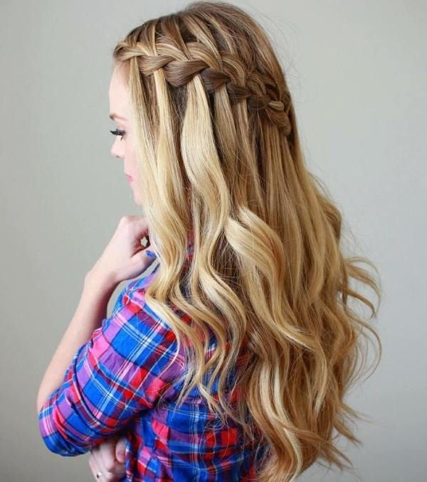40 Flowing Waterfall Braid Styles   Hairstyles   Pinterest   Half Within Current Braid And Curls Hairstyles (View 5 of 15)