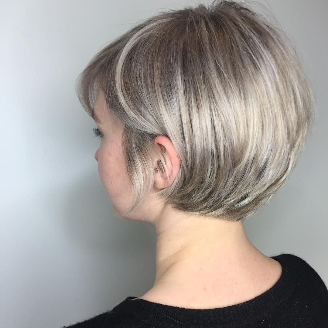 Displaying Gallery Of Stacked Pixie Bob Haircuts With Long Bangs