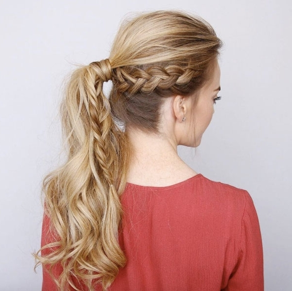 40 Stylish Braided Ponytail Hairstyles – Style Skinner For Most Recent Braid Into Pony Hairstyles (View 9 of 15)