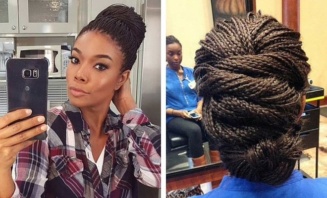 41 Beautiful Micro Braids Hairstyles | Stayglam With Regard To Current Pinned Up Braided Hairstyles (View 15 of 15)