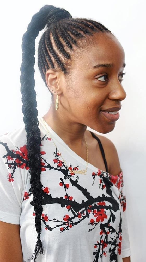 41 Cute And Chic Cornrow Braids Hairstyles In Current Top Knot Ponytail Braids With Pink Extensions (View 9 of 15)