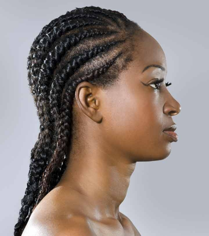 41 Cute And Chic Cornrow Braids Hairstyles In Most Recently Diagonally Braided Ponytail (View 13 of 15)