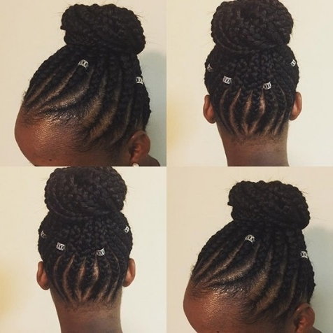 41 Cute And Chic Cornrow Braids Hairstyles Pertaining To Most Wanted In Most Up To Date Cornrows Hairstyles In A Bun (View 7 of 15)
