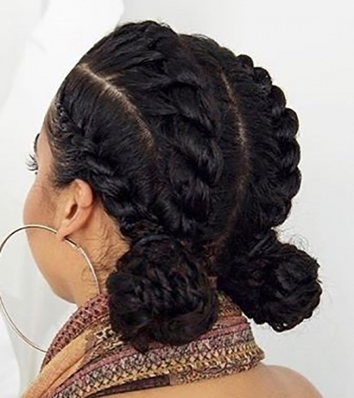 41 Cute And Chic Cornrow Braids Hairstyles With Bun Braids Throughout Recent Cornrows Hairstyles In A Bun (View 13 of 15)
