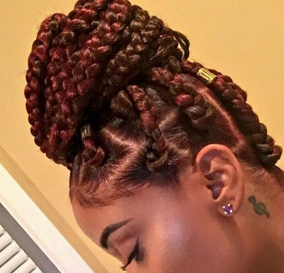 42 Chunky Cool Jumbo Box Braids Styles In Every Length With Most Recently Braided Hairstyle With Jumbo French Braid (View 11 of 15)