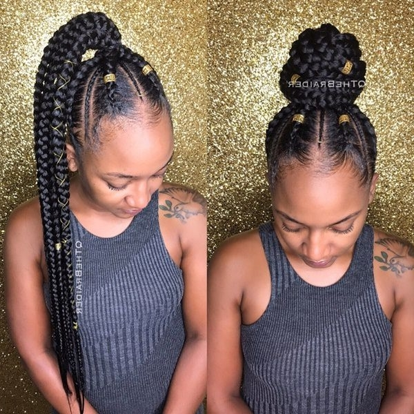 43 New Feed In Braids And How To Do It – Style Easily In Most Recently Ponytail Braids With Quirky Hair Accessory (View 15 of 15)