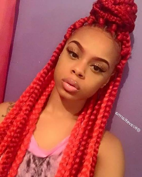 45 Photos Of Rockin' Red Box Braids With Regard To Most Recently Red Braided Hairstyles (View 4 of 15)