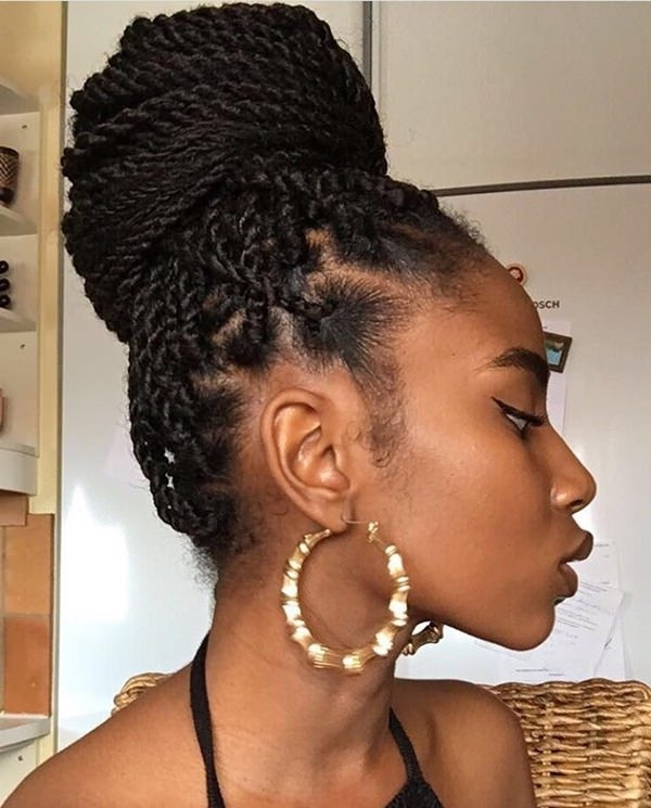 45 Sexy Senegalese Twist Hairstyles – Bun & Braids Intended For Most Up To Date Cornrows With Artistic Beaded Twisted Bun (View 9 of 15)