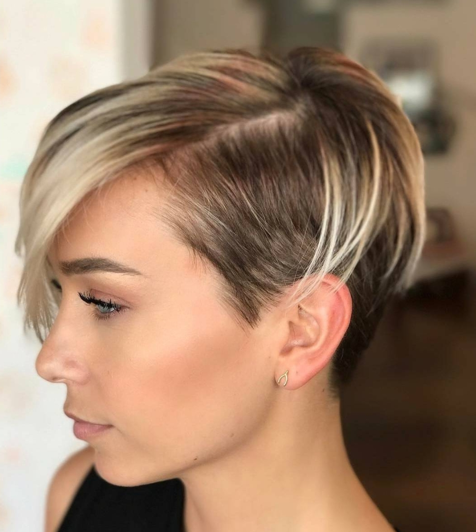 45 Sunny And Sophisticated Brown With Blonde Highlight Looks Throughout  Most Recent Undercut Blonde Pixie With