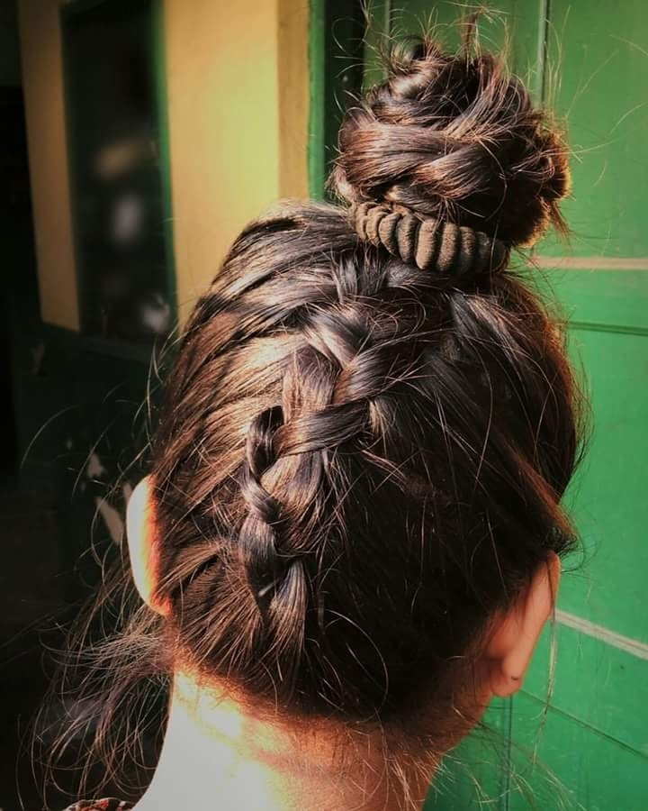 47 Messy Updo Hairstyles That You Can Wear Anytime, Anywhere Within Most Up To Date Upside Down Braids Into Messy Bun (View 14 of 15)