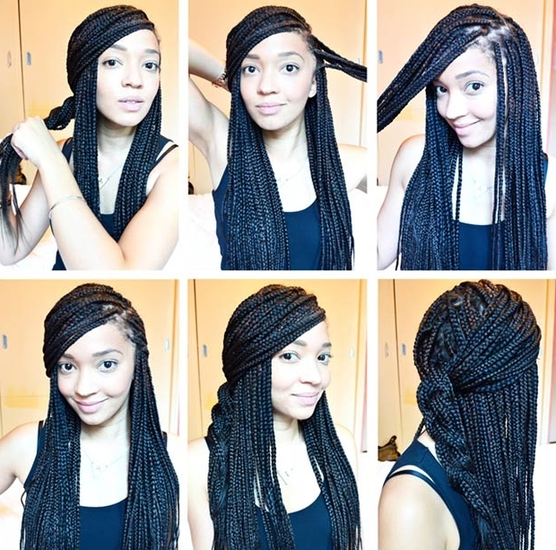 50 Box Braids Hairstyles That Turn Heads | Page 2 Of 5 | Stayglam With Most Popular Half Updo With Long Freely Hanging Braids (View 8 of 15)