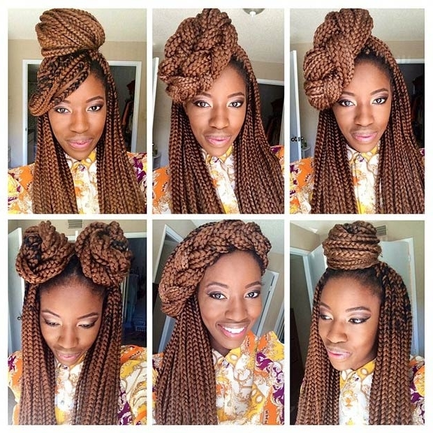 50 Box Braids Hairstyles That Turn Heads | Stayglam With Most Current Thin Double Braids With Bold Bow (View 6 of 15)