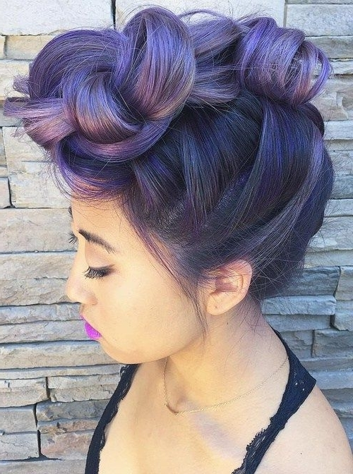 50 Cool Ideas Of Lavender Ombre Hair And Purple Ombre | ? Beauty With Most Current Twisted Black And Magenta Mohawk (View 9 of 15)