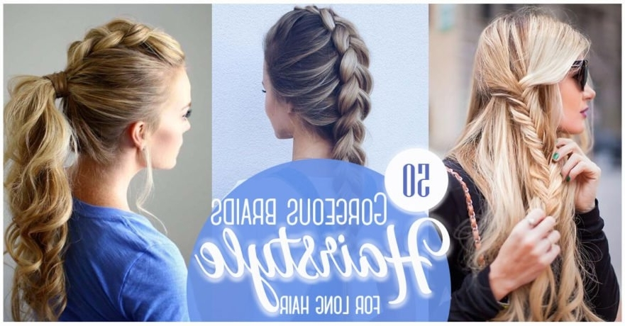 50 Gorgeous Braids Hairstyles For Long Hair For 2018 Pair Of Braids With Wrapped Ponytail (View 10 of 15)