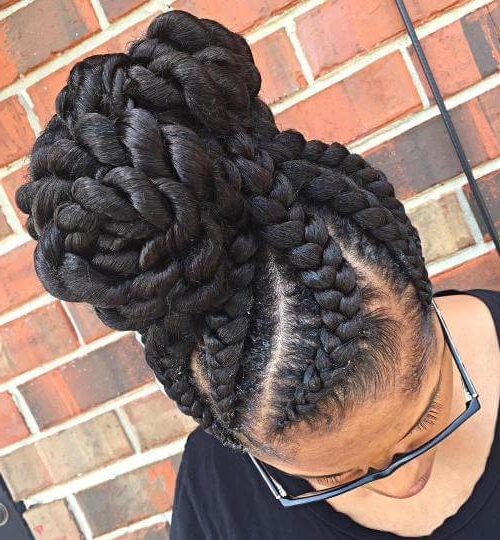 50 Natural Goddess Braids To Bless Ethnic Hair In 2018 Pertaining To Recent Big Updo Cornrows Hairstyles (View 15 of 15)